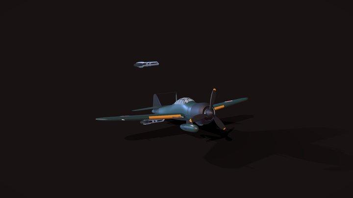 Mitsubishi A6M Zero (Free Model) 3D Model