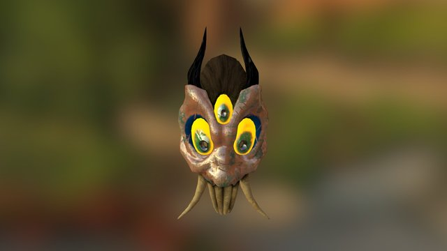 Mask of the demon - Copper 3D Model