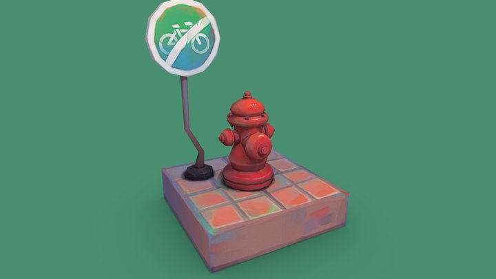 Fire hydrant, street sign 3D Model