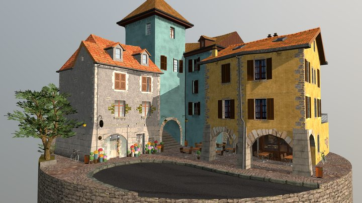 City scene - Annecy 3D Model