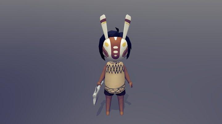 Masked Tribal Child 3D Model