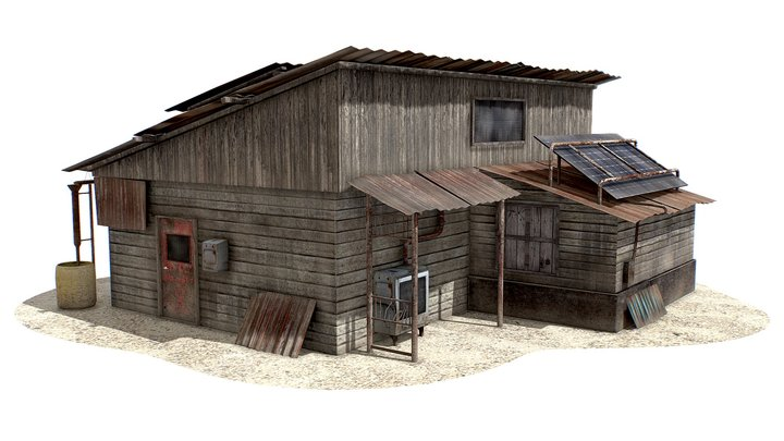 Post-Apocalyptic   House   Dirty   Old   Wooden 3D Model
