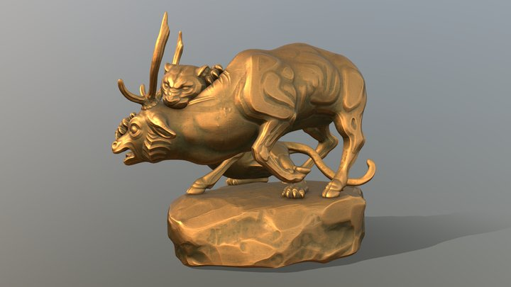 Barye's 'Panther Attacking a Stag' Study 3D Model