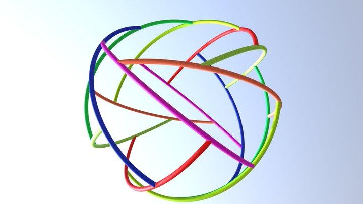 Heptagonal Cyclic Rhombus Rotegrity 3D Model