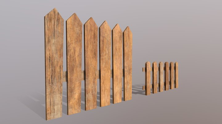 Wooden Fences PBR - Modular - Version 1 3D Model