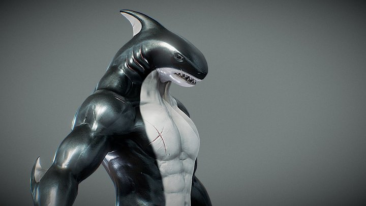 Anthro Shark 3D Model