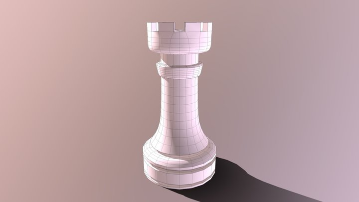 Chess Rook Retopo 1200 Quads Adaptive Size50 3D Model