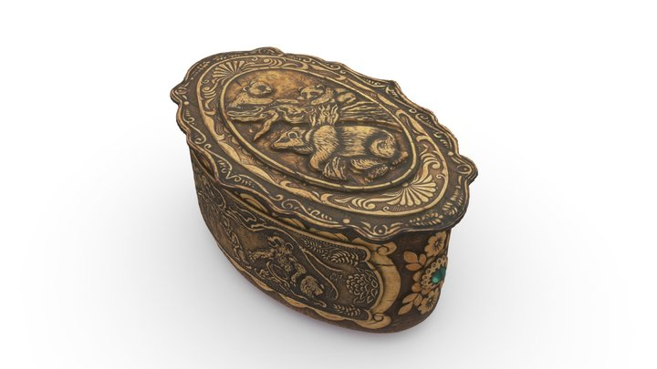 Carved bears souvenir box 3D Model