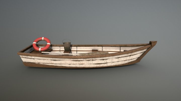 Realistic Wooden Boat - GameReady PBR 3D Model