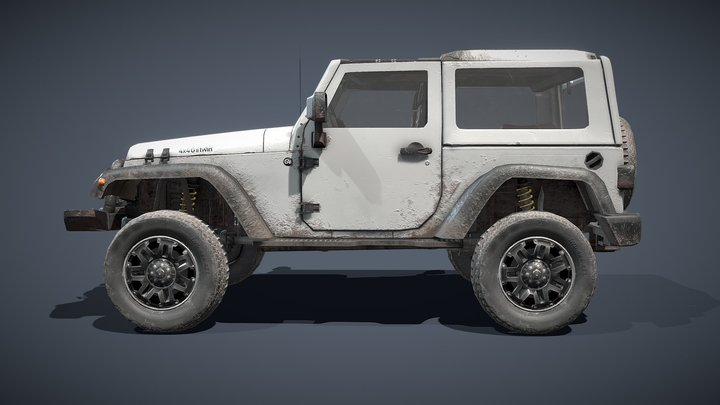 Grey Jeep 3D Model