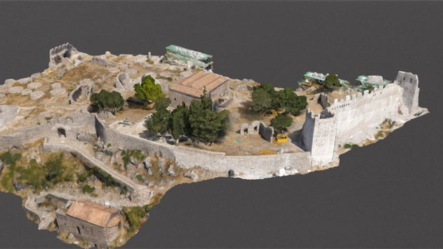 Medieval castle, byzantine church and buildings 3D Model