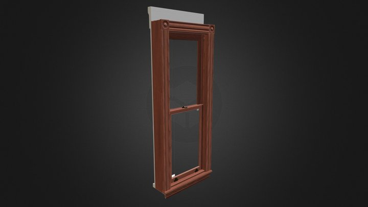 Lowpoly Antique Window (24in 2 Light Single) 3D Model