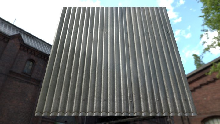 Corrugated Plastic Wall with Displacement Map 3D Model