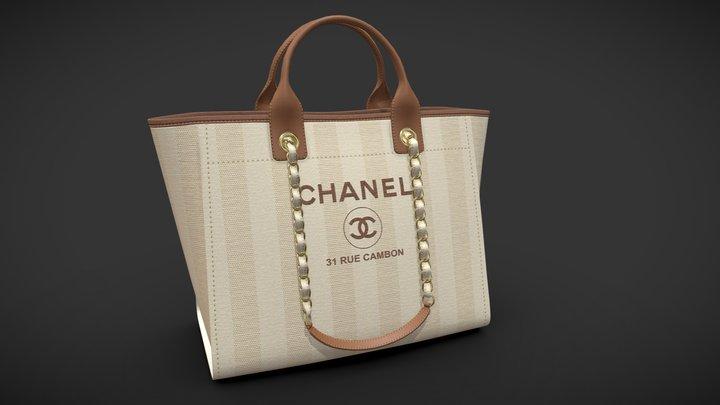 Chanel Bag Canvas Deauville Tote Shoper 3D Model