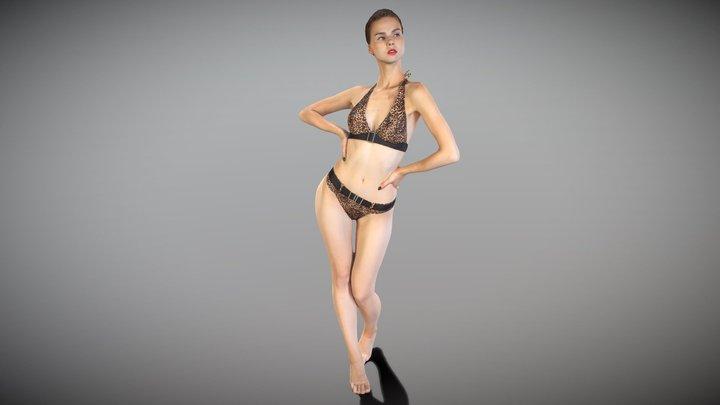 Beautiful woman in a leopard swimsuit posing 170 3D Model
