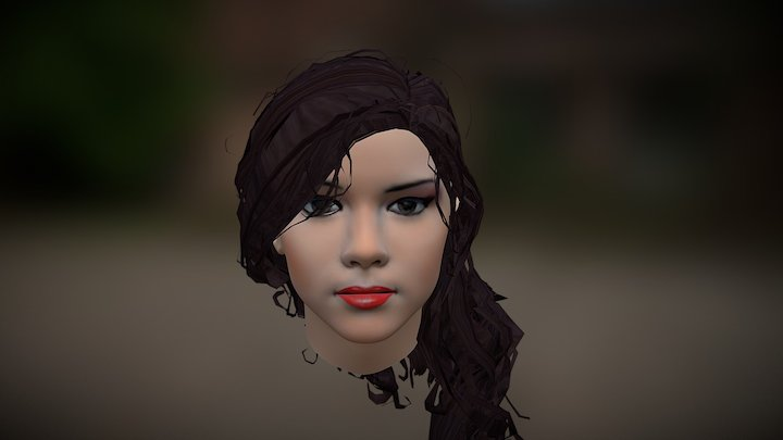 Girl's Face Hand Painted Textures WIP 3D Model
