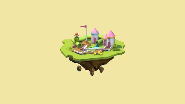 Low poly Little island 3D Model