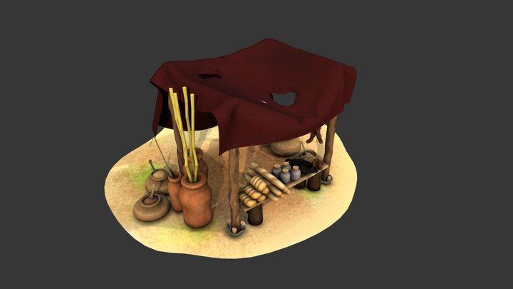 puesto de ventas - medieval stall 3D Model