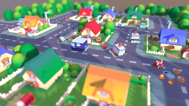 Lowpoly Neighbourhood 3D Model