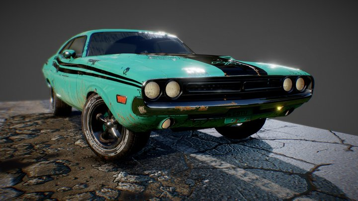 dodge challenger 1971 (dry version) 3D Model