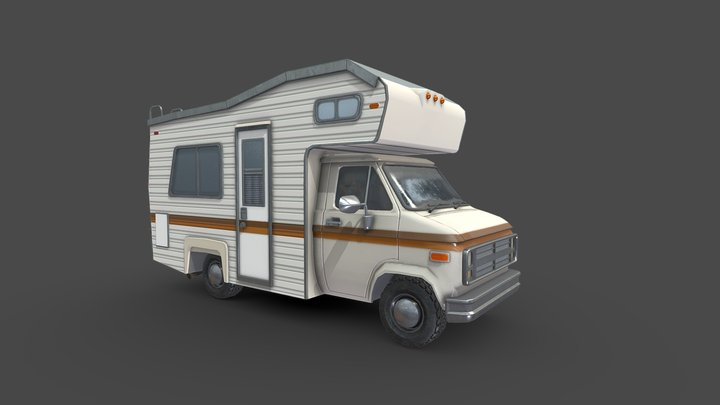 80s Camper Van 3D Model