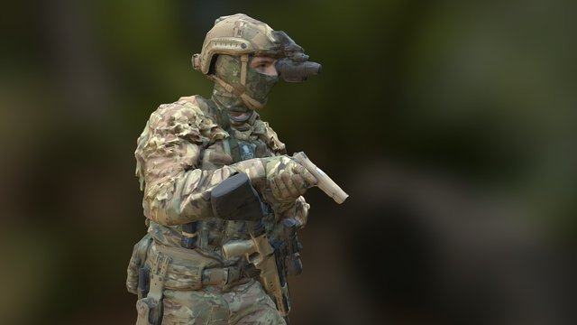 Soldier with pistol 3D Model