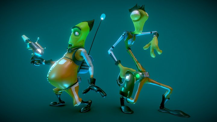 Fil and Mantis- Space Janitors 3D Model