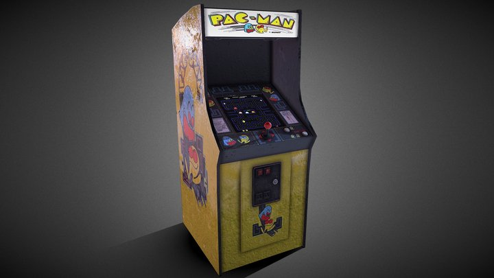 Pac-Man Retro Arcade Machine 3D Model
