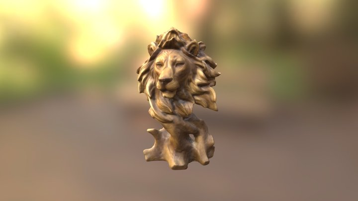Lion - Wood Carving 3D Model