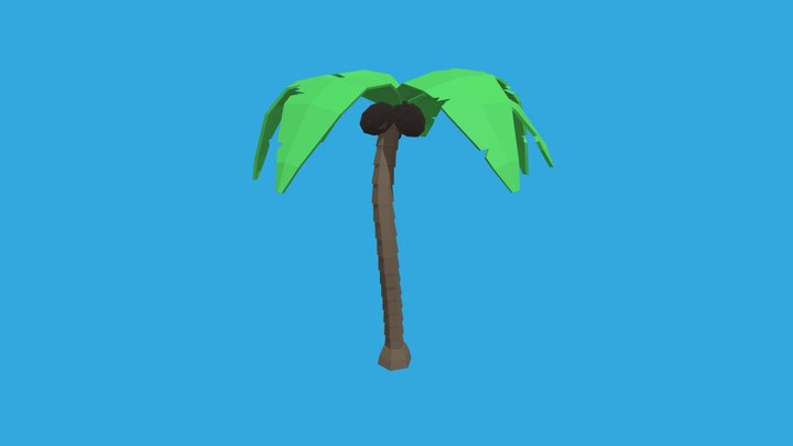 Low Poly Palm Tree With Coconuts 3D Model