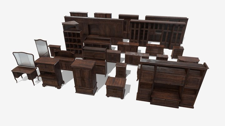 Floor Cabinet Collection 3D Model