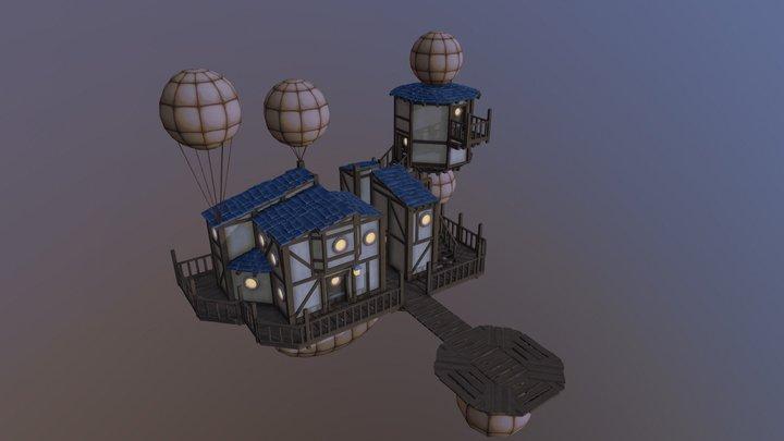 Floating Houses 3D Model