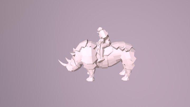 Low Poly Rhino Rider 3D Model
