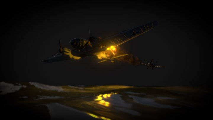 Spitfire fights in the night 3D Model