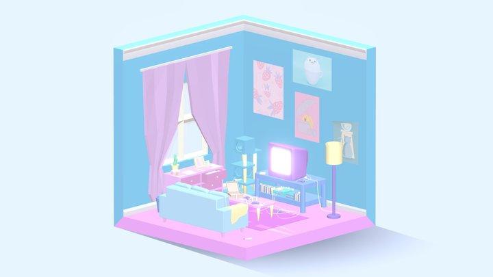 Pastel Gaming Isometric Room 3D Model