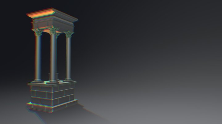 Tetrapylon Quarter Section 3D Model