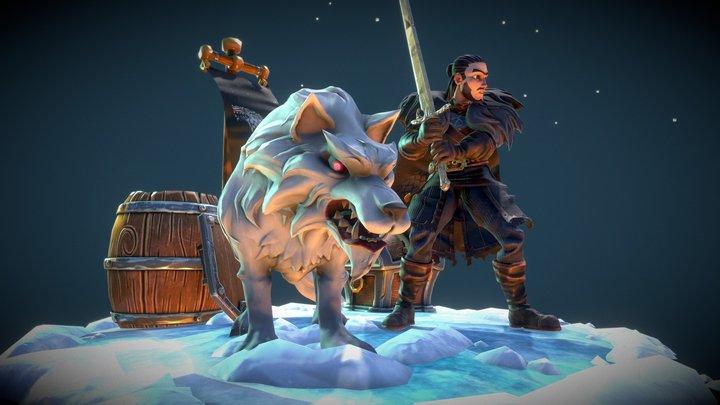 Jon Snow and Ghost 3D Model