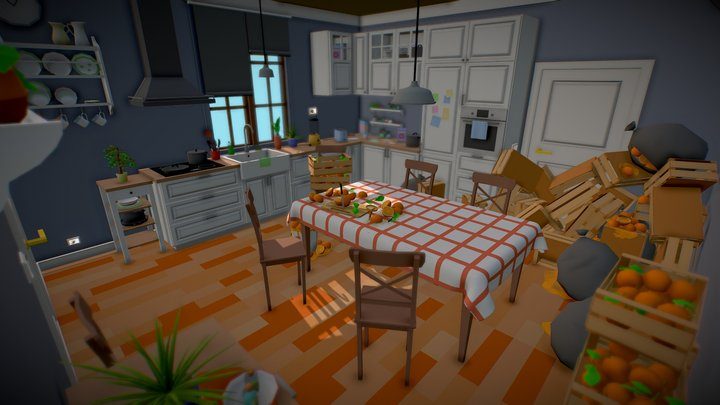 Low Poly Kitchen with surprise 3D Model