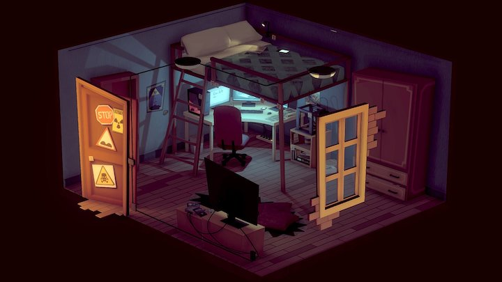 Cartoon Isometric Room 3D Model