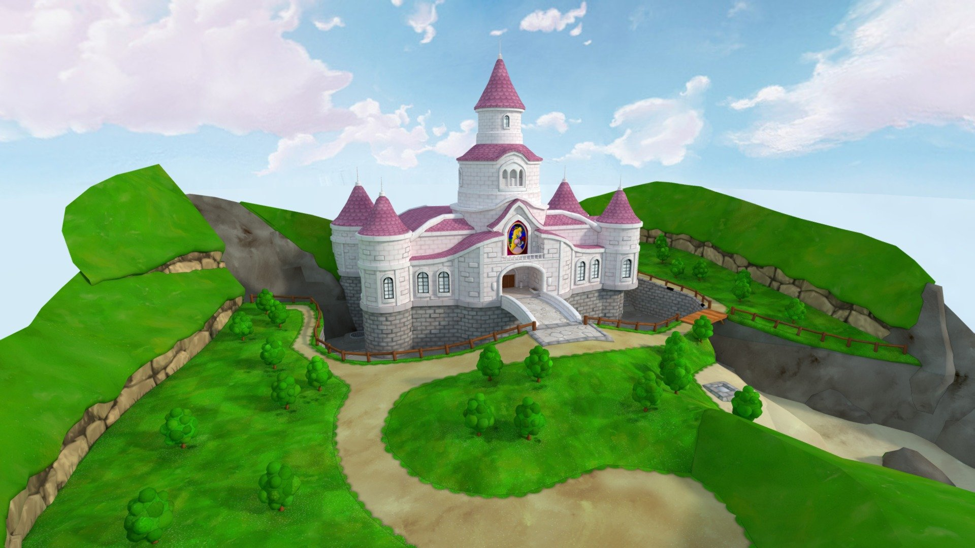 Peach Castle Download Free 3d Model By Mstuff Mstuff