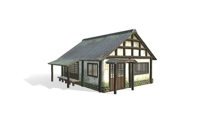 Lowpoly Japanese Old House 3D Model