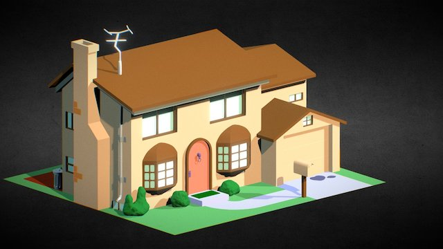 1- Simpsons Haus-6x8-sketchfab 3D Model