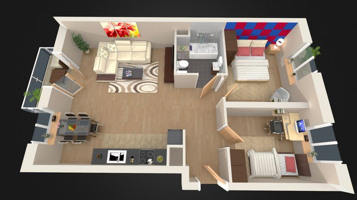 3D Premium Floorplan C10 3D Model
