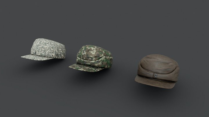 German Officers Cap low-poly 3d model Game Ready 3D Model