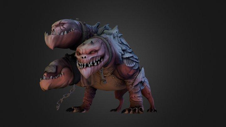 Three Headed Monster Dog 3D Model