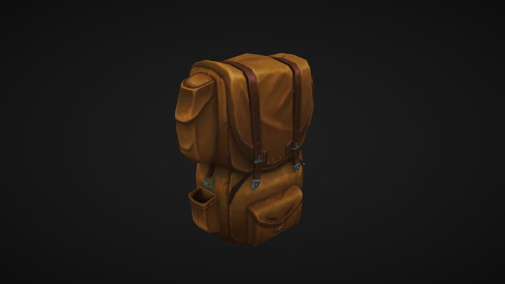 Low Poly Stylized Backpack 3D Model