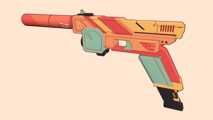 Stylized Sci-Fi Handgun 3D Model