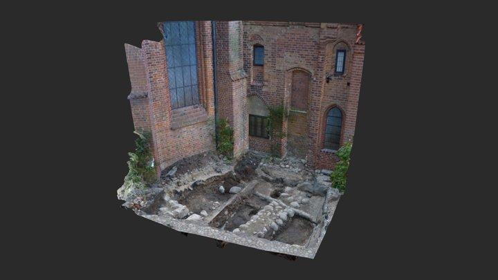 Klostret i Ystad – undersökningsyta och fasad 3D Model
