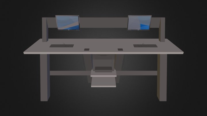 Concrete Angle Desk 3D Model