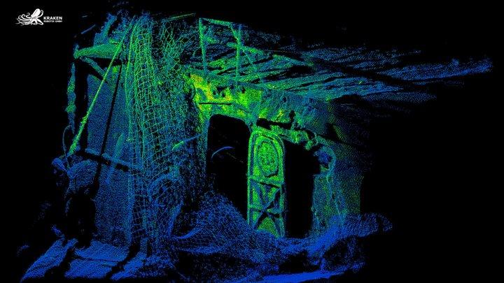 Wreck USS Baldwin Starboard Flybridge - Blue 3D Model